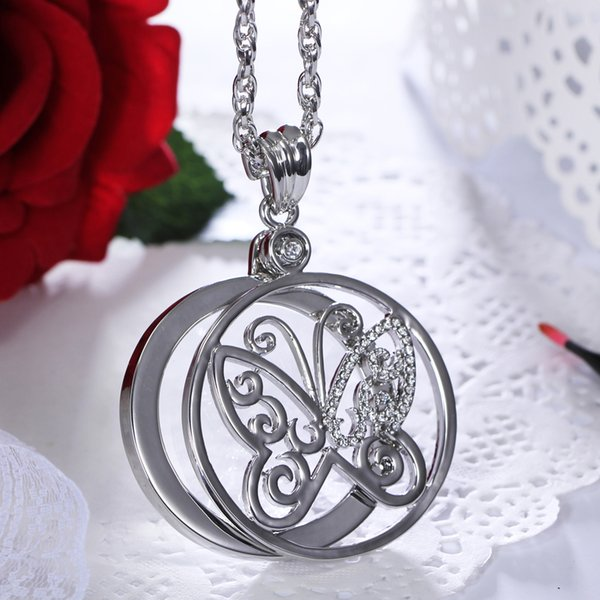 Cute butterfly Crystal Magnifying glass Pendant Long Sweater chain Necklaces 2X Magnifier necklace