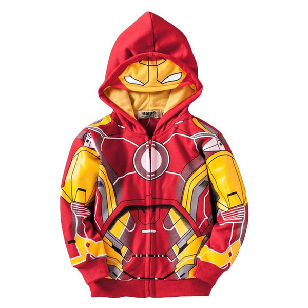 top popular cute boy's hoodie sweatshirt cartoon iron man style hooded coat for 2-10yrs boy children outerwear clothes hot 2019