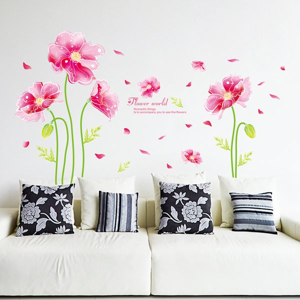 Fantasy Corn Poppy Wall Sticker Creative Wall Decals Diy Flowers