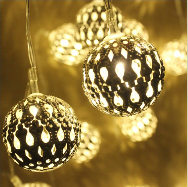 10-LED Solar Power Metal Ball Fairy String Lights Morocco bulb string Hollow ball solar lamp string Party Xmas Halloween Decor
