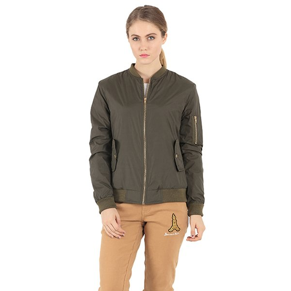 Wholesale- Spring Autumn Bomber Jackets Women Parkas Stand Collar Cool Fashion Pilot Jacket Basic Coat Army Green Chaquetas Biker Outwear