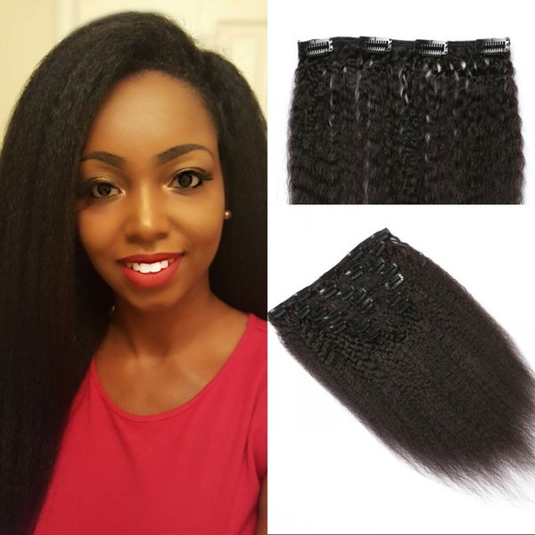 Kinky straight clip in hair extensions for black women high quality Indian human hair 7pcs/set clip ins 120G FDSHINE