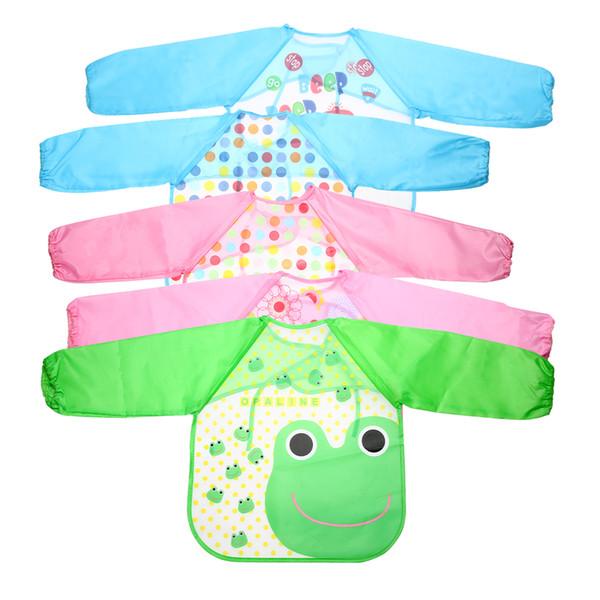 Venda quente - Crianças Bib Burp Baby Todders impermeável manga comprida arte Smock babadores avental Cartoon alimentação suave baberos bavoir roupas