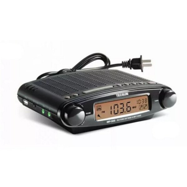 Wholesale-Original TECSUN MP-300 Radio FM Stereo DSP Radio USB MP3 Player Desktop Clock ATS Alarm Portable Radio Receiver LED DIsplay^