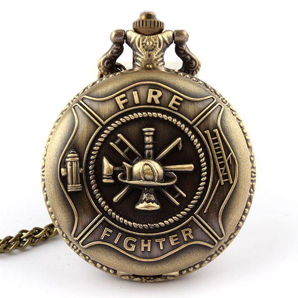 Atacado-Bronze Fire Fighter Pocket Watch Pingente Cadeia Pingente de Presente de Natal P106 Frete grátis presentes de Natal