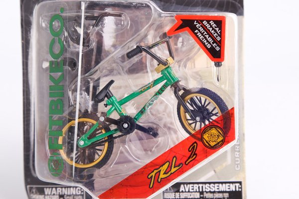 Wholesale-2015 New Professional Flick Trix Finger Bmx Bicicleta Real Brakes Alloy Fun Toy For Boys With Gadget Green And Golden Color