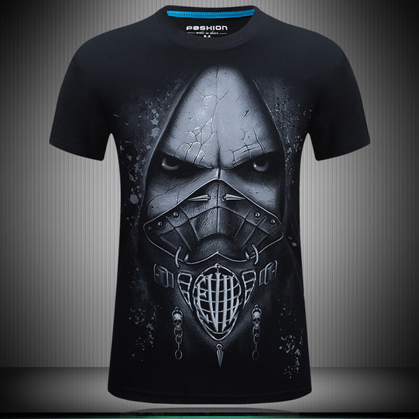 Summer mens t shirts 3d death skeleton designer t shirt print plus size fat men casual loose short-sleeved streetwear tshirts for men