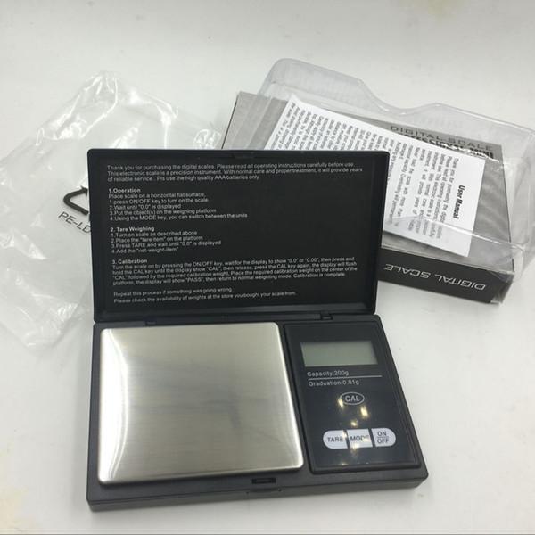 200 g x 0.01 g Escala de joyería de precisión personal digital LCD de tamaño de bolsillo negro, escalas de peso de equilibrio de diamante de oro