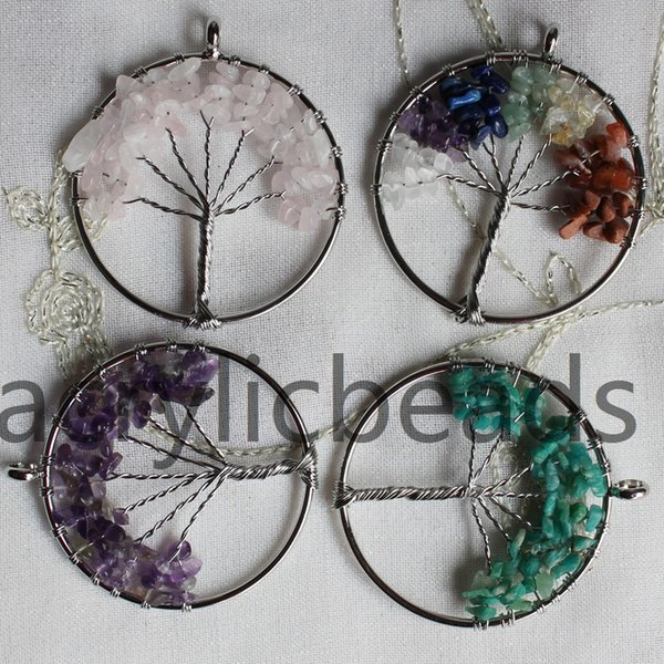 NEW Handmade Tree of Life Chakra Healing Crystal Wire Wrap Natural Gemstone Pendant Jewelry Bracklace Making 10PCS