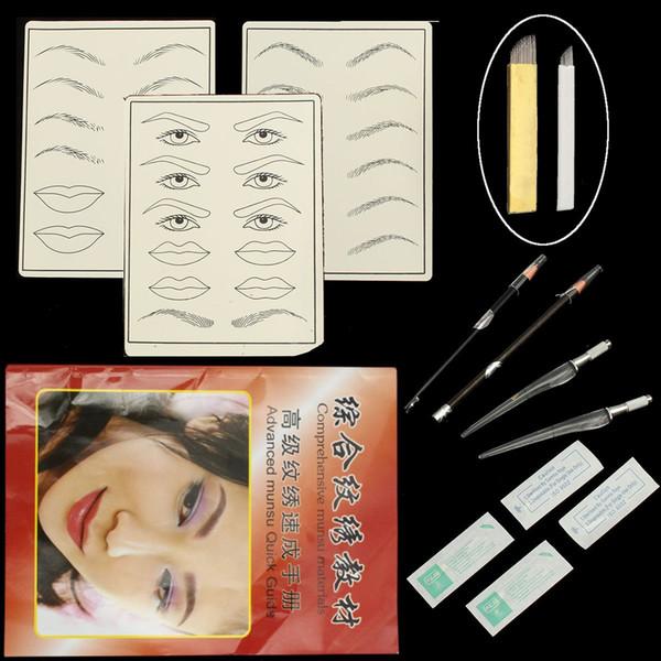Wholesale- Permanent Eyebrow Tattoo Pen+Eyebrow Lip Tattoo Practice Skin+4Pcs Blade Needle+Eyebrows Pencil Makeup Tattoos Set Kit