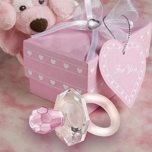 Nuovo regalo del partito Cristallo artificiale ciuccio pendente di fascino Ragazza ragazzo Baby Shower battesimo matrimonio favore decorazione WN0408