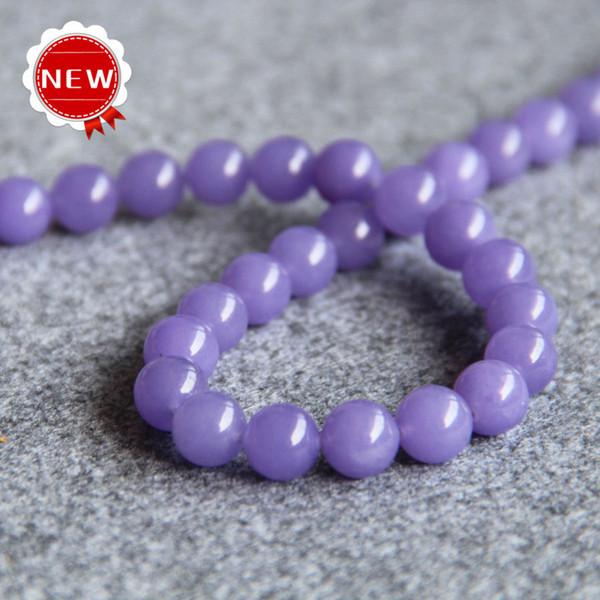 Nueva Mujer NecklaceBracelet Accessories 10mm Nueva Natural Violet jade beads Forma redonda Jasper DIY Beads stones 15inch Jewelry