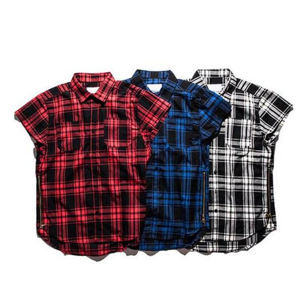 Red Plaid Shirts Männer Neue Mode Justin Bieber Swag Hip hop Streetwear Side Reißverschlüsse Design Beiläufige Lose Baumwolle Shirts XXL