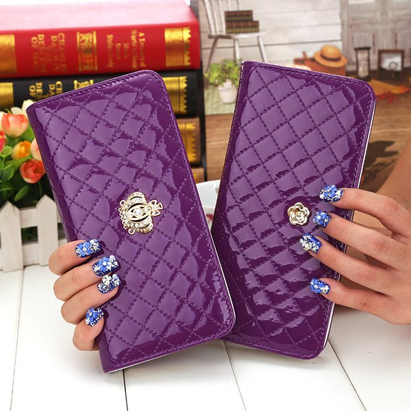 Wholesale- Hot sale women quilted long wallet crown purse women Wallets With Coin Bag Plum flower clutch bag carteras female dollar price
