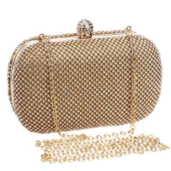 Lüks Elmas Akşam Çantalar Klasik Taklidi Gün Debriyaj Bayan Herkes için Tavsiye Altın / Gümüş / Siyah Kristal Çanta