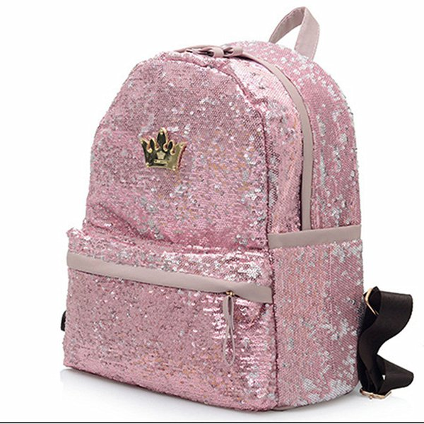 Wholesale- 2017 Fashion Cute Girls Sequins Backpack Womens Paillette Leisure School BookBags Free Shipping Top Quality P110