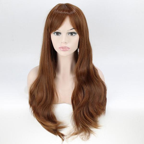 Brown Synthetic Hair Women Long Wavy Wig Thin Bang High Temperature Fiber 60cm Long Free Shipping