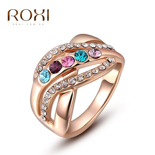 ROXI Classic Genuine Austrian Crystals Rose Gold Color Colorful Stones Engagement Jewelry rings