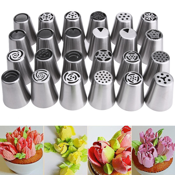 24pcs Stainless Steel Nozzles Russian Tulip Icing Piping Pastry Decorating Tips Cake Cupcake Decorator Rose Kitchen Accessories