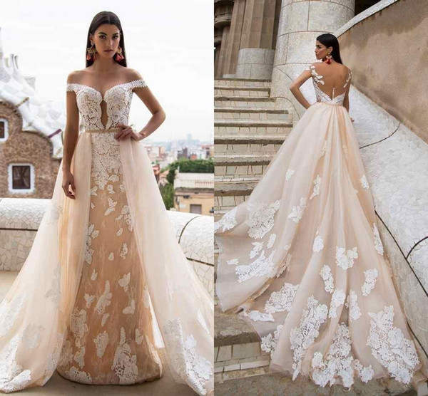 2017 Milla Nova Champagne Mermaid Wedding Dresses with Detachable Train Illusion Backless Ruffled Court Train Garden Wedding Bridal Gowns