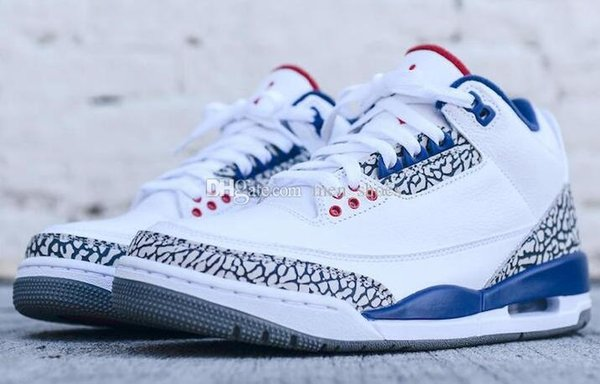 the best attitude 233ca bc77c New Arrived Retro 3 True Blue Men Basketball Shoes 3s True Blue White  Cement Retro 3s Men Sneakers High Quality With Shoes Box Basketball Shoes  Women ...