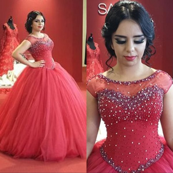 Elegant Beaded Ball Gown Wedding Dresses Red Sheer Illusion Scoop Cap Sleeves Plus Size Wedding Dress Bridal Gowns Custom Made