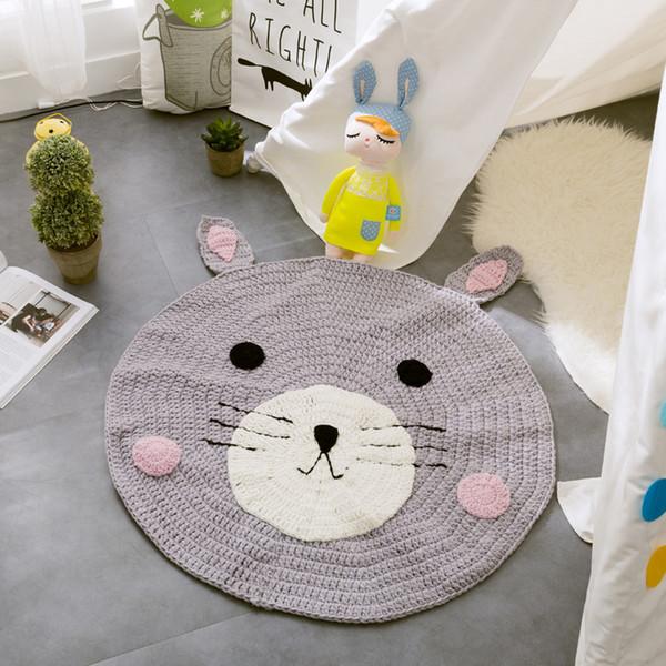 Großhandel Baby Teppiche Cartoon Fuchs Bär Kaninchen Runde 80 Cm Stricken  Spielmatten Für Mädchen Jungen Mode Teppich Kinderzimmer Dekoration ...