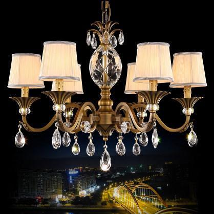 Kronleuchter European American Style luxuriöse elegante Vintage Kupfer Kristall Kronleuchter Beleuchtung Messing Kronleuchter LED Pendelleuchte