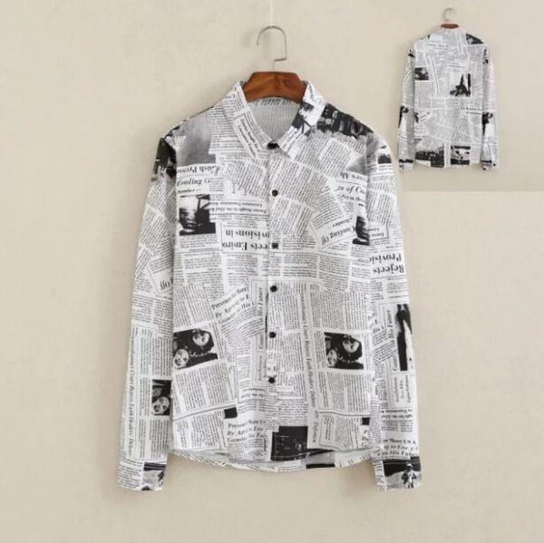 New Metrosexual personalità slim Uomo Abbigliamento Uomo vintage Moda giornale stampa arte camicia a maniche lunghe Boy Casual Top M L XL XXL