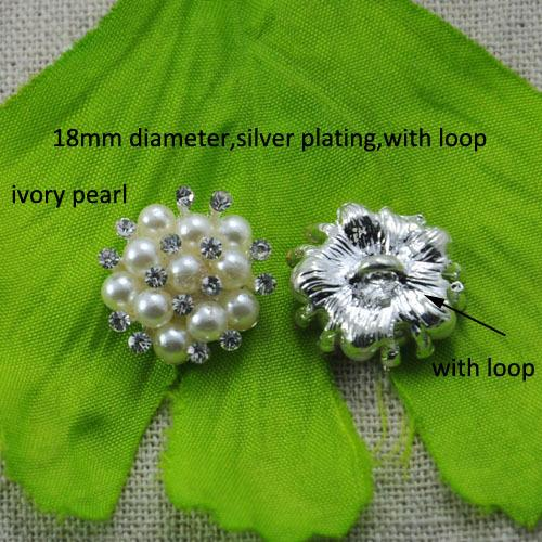 (L0321) free shipping wholesales 20 pcs/lot, 18mm rhinestone button with loop , ivory pearl or pure white pearl