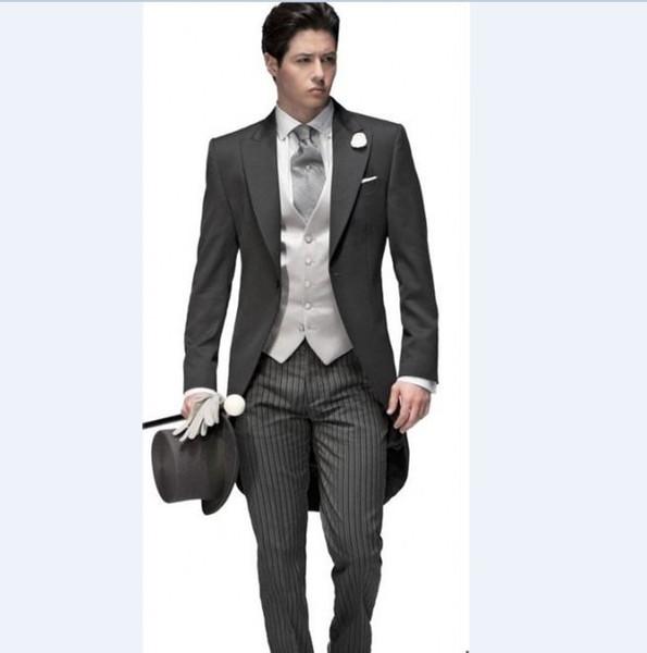 Custom Made Newest Groom Tuxedos Peak Lapel Men's Suit Morning Style Groomsman/Bridegroom Wedding/Prom Suits (Jacket+Pants+Tie+Vest) J828