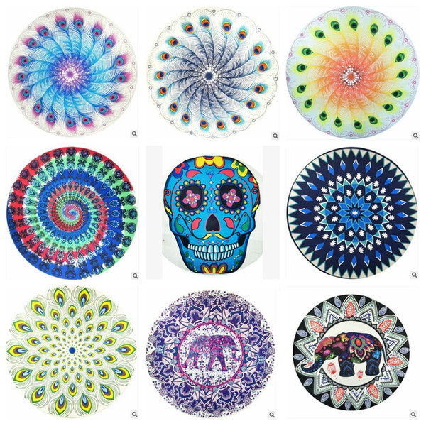 Round Beach Towels 82 Styles Bohemian Mandala Blankets Chiffon Skull Elephant Lotus Beach Towel Yoga Picnic Mat Table Cloth Towel Shawls