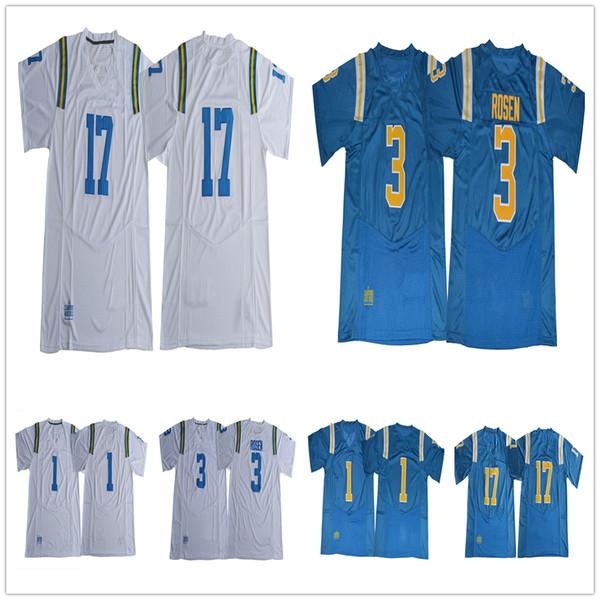 NCAA UCLA Bruins #1 Soso Jamabo 3 Josh Rosen Jersey 17 Christian Pabico Blue White College Football Jerseys Free Fast Shipipng