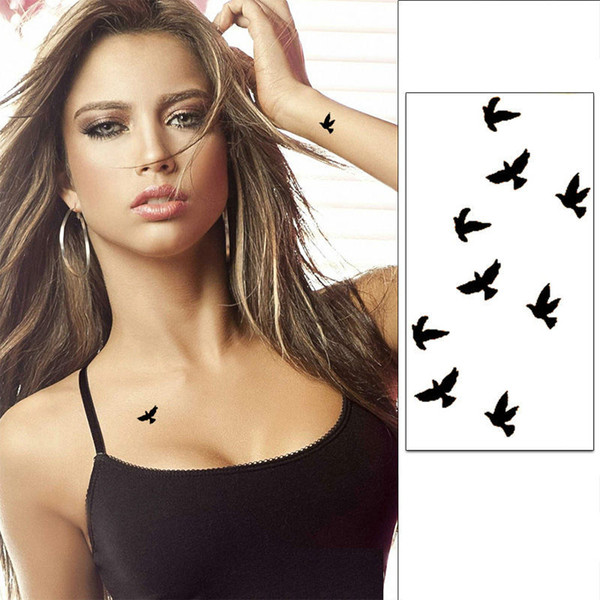Pulso Flash Do Tatuagem Falsa Tatto Aves Negros À Prova D 'Água Etiqueta Do Tatuagem Temporária Para Body Art Mulheres Tatoo
