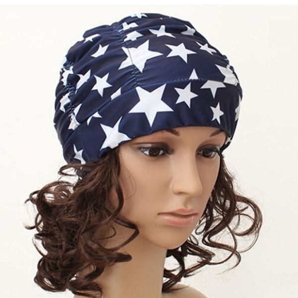 Sexy Women Girls Drape Stretch Long Hair Swim Cap Hat Bathing Swimming Cap