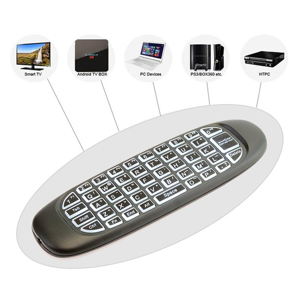 Mini G64 2.4Ghz Wireless Keyboard bulit in rechargeable battery Air Mouse Remote Controller Game Keyboard Backlight White color