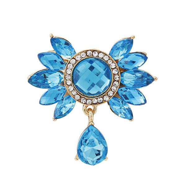 Großhandels- Art- und Weisefrauen-Acrylblau-Blume mit Tropfen-hängenden Broschen, die, empfindliche Hochzeit und Partei-Brosche, Brautstifte, freies Schiff Wedding sind