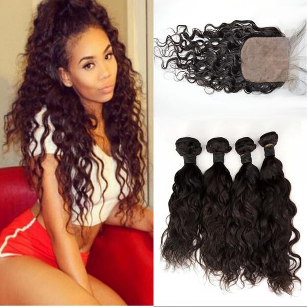O cabelo peruano tece com os pacotes do cabelo humano da onda de água do fechamento com fechamento de seda 4x4 da base FDSHINE