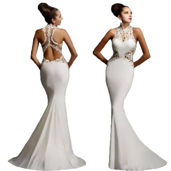 Compre Noche Largo Vestido De Fiesta Blanco Calcomanía Costura Cuello Redondo Sin Mangas Mochila Cadera Barato Sirena Vestidos De Baile Cola De