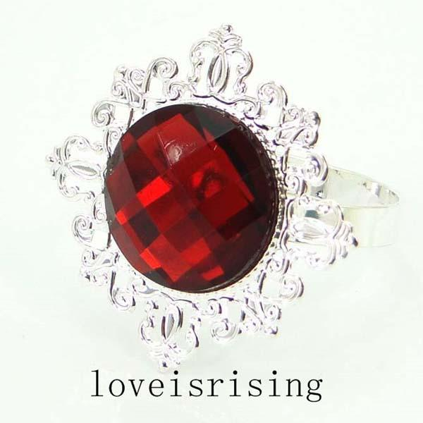 50pcs/lot High Quality Crimson Red Gem Silver Plated Napkin Rings Wedding Favors Decoration Napkin Cloth Rings