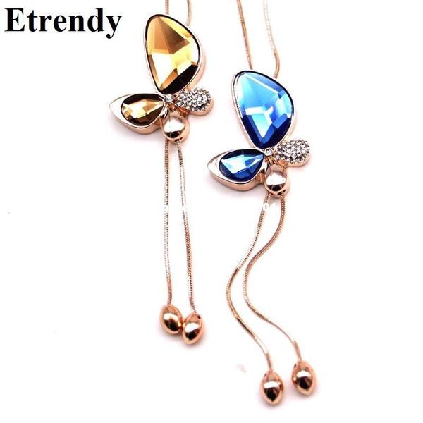 Declaración de moda fina Crystal Butterfly Tassel Long Necklace Women 2017 Nueva joyería plateada oro Bijoux collares colgantes