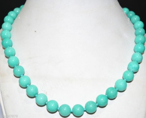10mm natural Americas light blue beads Necklace 18inch