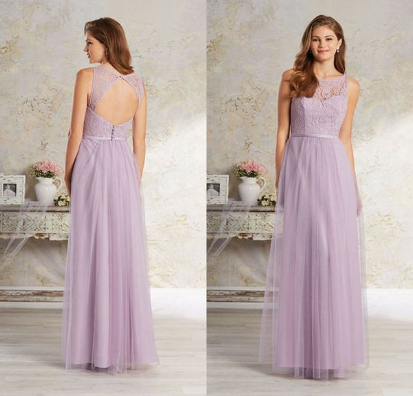 reliable quality sleek sports shoes Low Price A Line Floor Length Lilac Tulle Lace Bridesmaid Dresses Keyhole  Back Sexy Long Bridesmaid Gowns With Sleeveless Bridesmaid Dress Shop ...