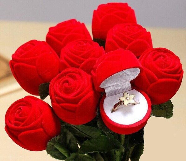 Luxury red Rose Propose to your Ring box Engagement romantic party Wedding Earring Ring Pendant Jewelry Display Box 4cm*4.5cm