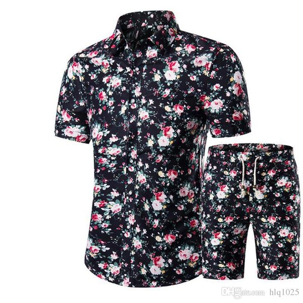 best selling New Summer Men Shirts+Shorts Set Casual Printed Hawaiian Shirt Homme Short Male Printing Dress Suit Sets Plus Size