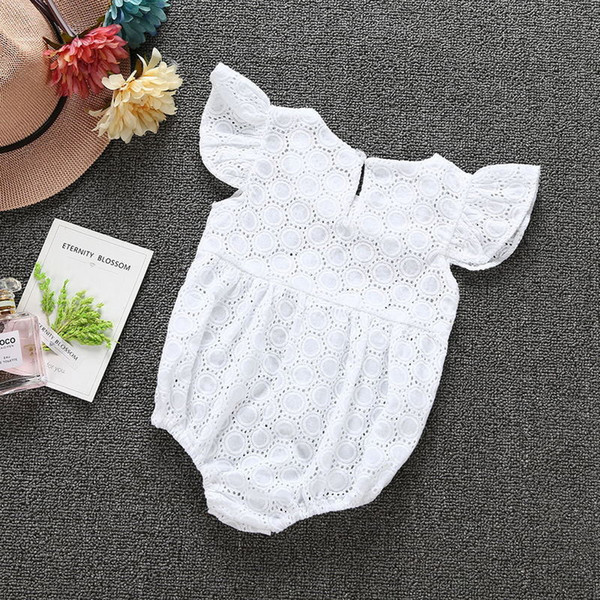 6 sets/lot!2017 New summer infant baby girls embroidery romper jumpsuits clothing set white fashion cotton romper diaper bodysuit