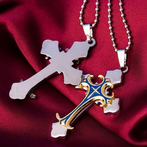Gift Unisex/'s Men Women Gold Silver Stainless Steel Cross Pendant Necklace Chain