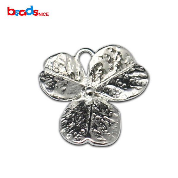925 Silver Charm Flower Connector Leaf Flower Sterling Silver Pendant for Necklace or Bracelet Handmade Jewelry Findings ID36299