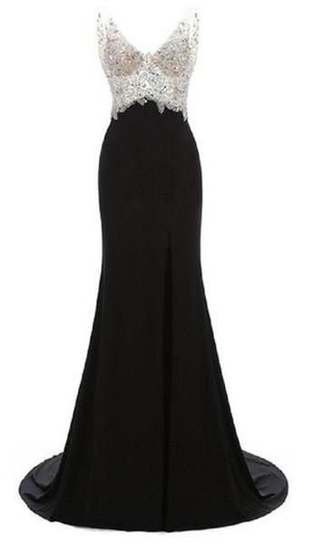Sexy Backless Mermaid Black Prom Dress 2017 Vestido De Festa Longo Sereia Luxury Evening Dresses Fast Shipping