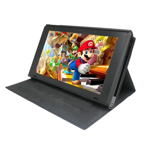 Protective PU Leather Case for NS Switch Console Folding Flip Cover Adjustable with Stand Holder Shockproof Retail Box